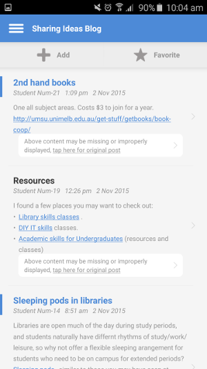 Adding a blog entry in the BlackBoard Mobile Learn app