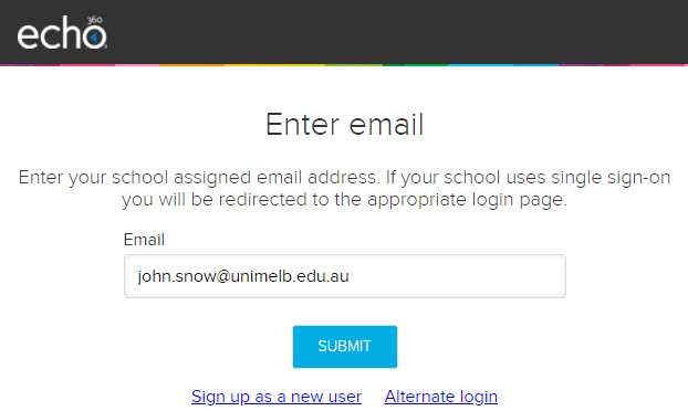 Login page for Echo360 website