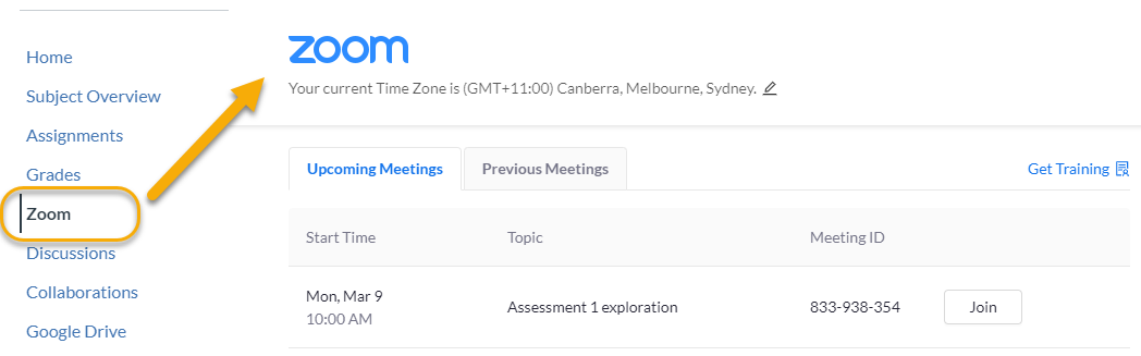 Access Zoom from the link in your subject navigation menu to join upcoming meetings