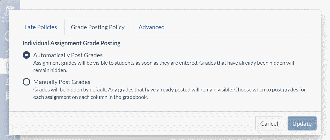 Automatically Post Grades is the default setting for all Canvas assignments (excluding anonymous or moderated assignments)