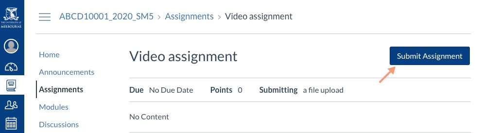 Submitting to the video assignment
