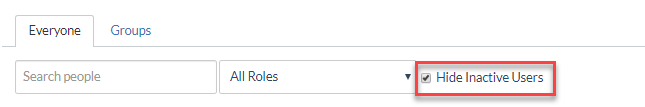Hide Inactive Users check box in People