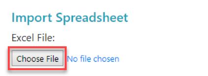 Choose File import button