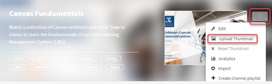 Channel Actions menu - Upload Thumbnail