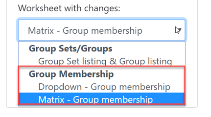 Group Membership dropdown options to upload the Excel file