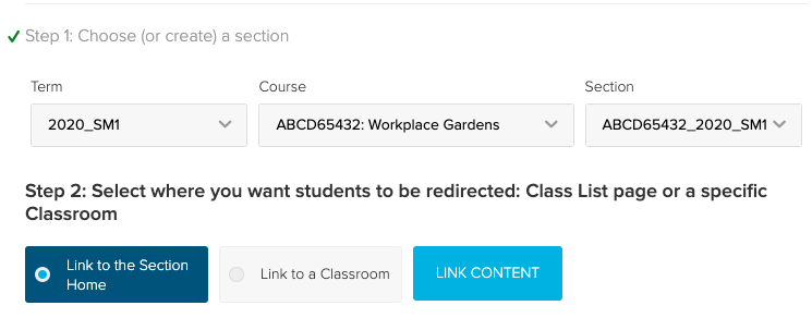 Lecture capture link configuration