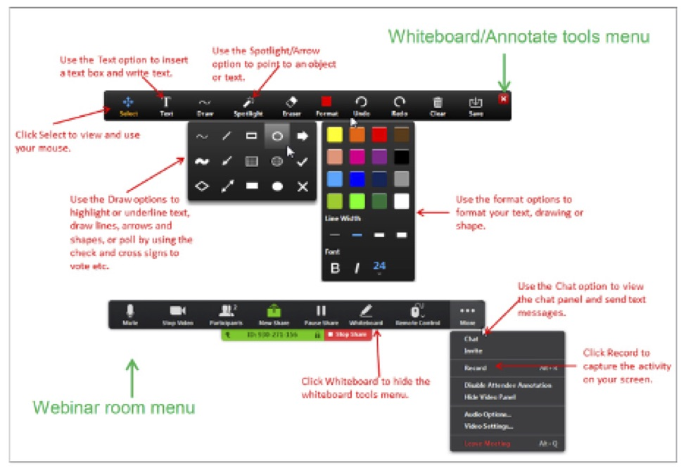 Annotate or Whiteboard tool bar