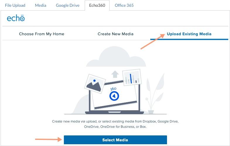 Upload Existing Media tab
