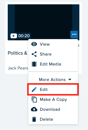 Select Edit to change the title and description of your recording