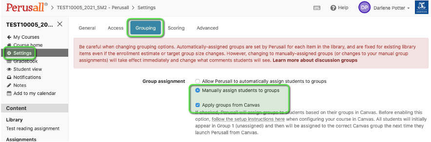 Setting to ensure LMS Groups flow through to Canvas