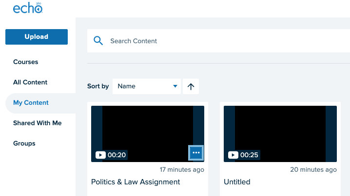 My Content tab showing your recordings