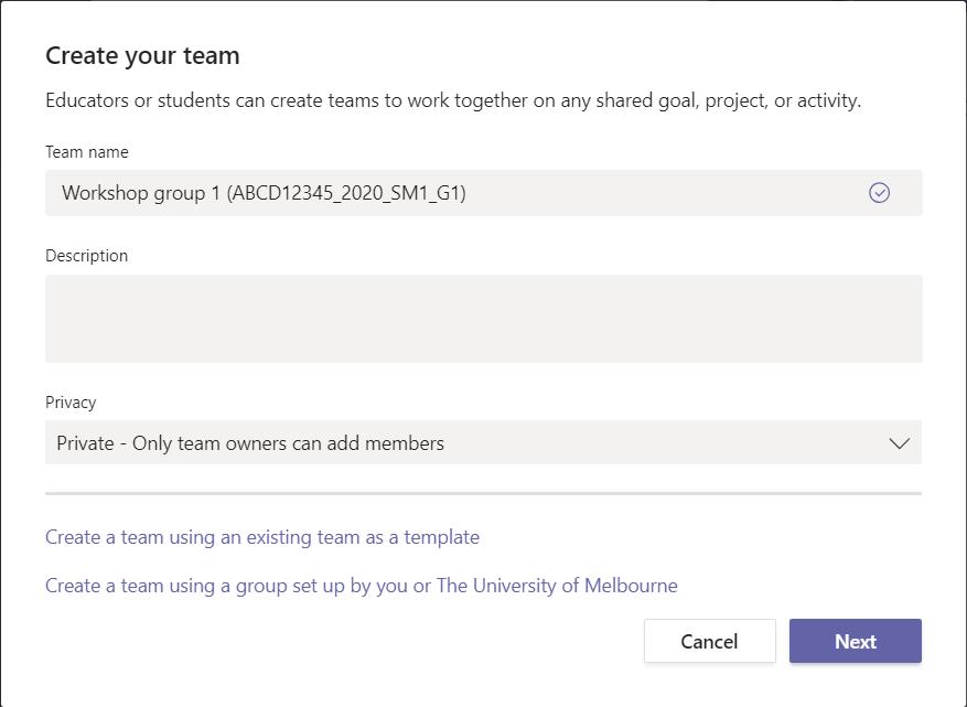 Team details