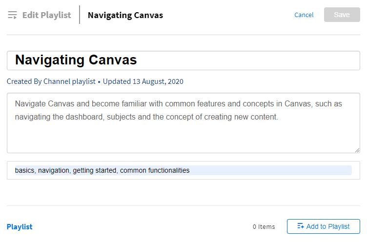 Edit playlist page