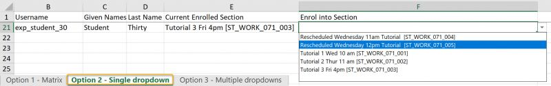Single section dropdown