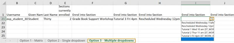 Option 3 multiple dropdown