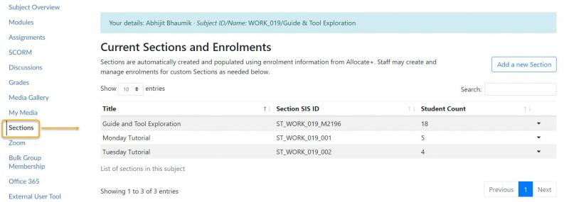 Access tool from subject navigation menu