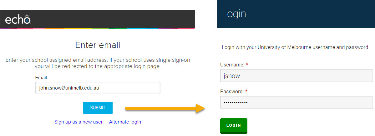 Login page for Echo360 and University SSO