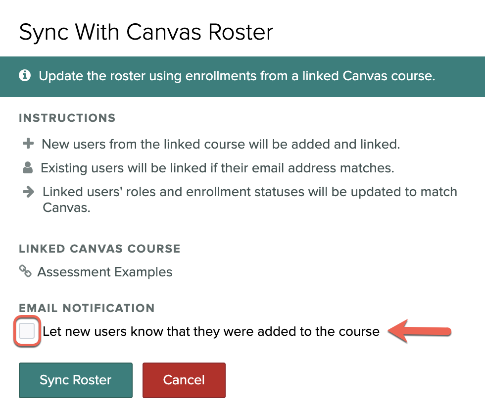 Deselect the email notification option and click Sync Roster