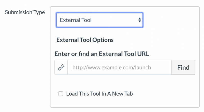 Using Submission Type to select External Tool from the drop down menu