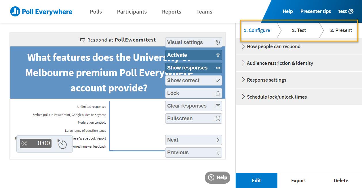 The Poll Everywhere editing screen