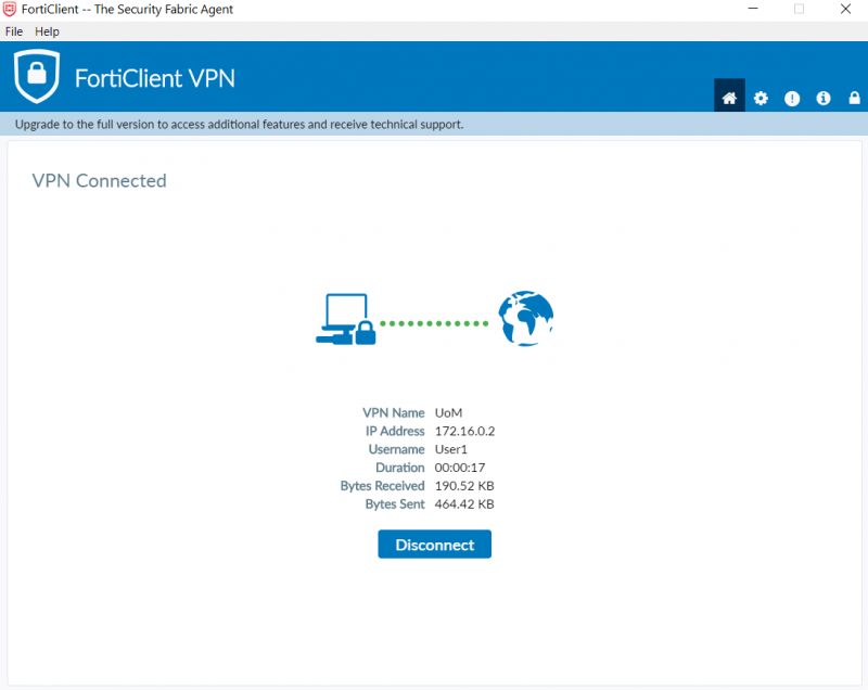 FortiClient VPN client settings - VPN successfully connected