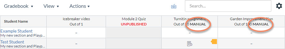 Example of two Gradebook columns displaying a manual grade posting policy applied