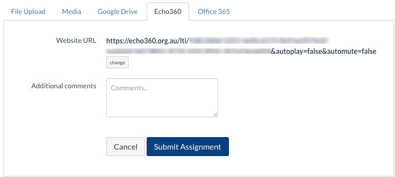 Submitting your Echo360 video to your assignment