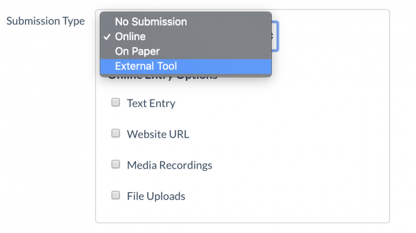 In the settings for Submission Type, choose External Tool