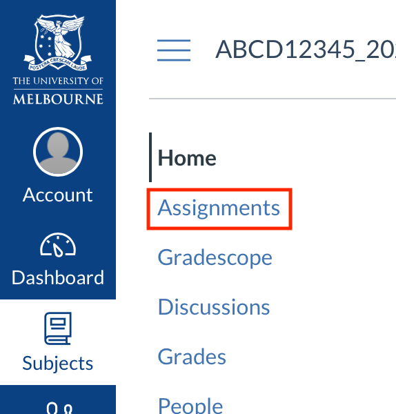 Assignments in subject menu