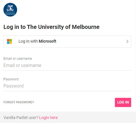 Log in to The University of Melbourne via Log in with Microsoft