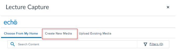 Selecting the Create New Media tab