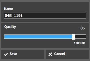 Shows the name changing and quality adjustment interface of the tool.
