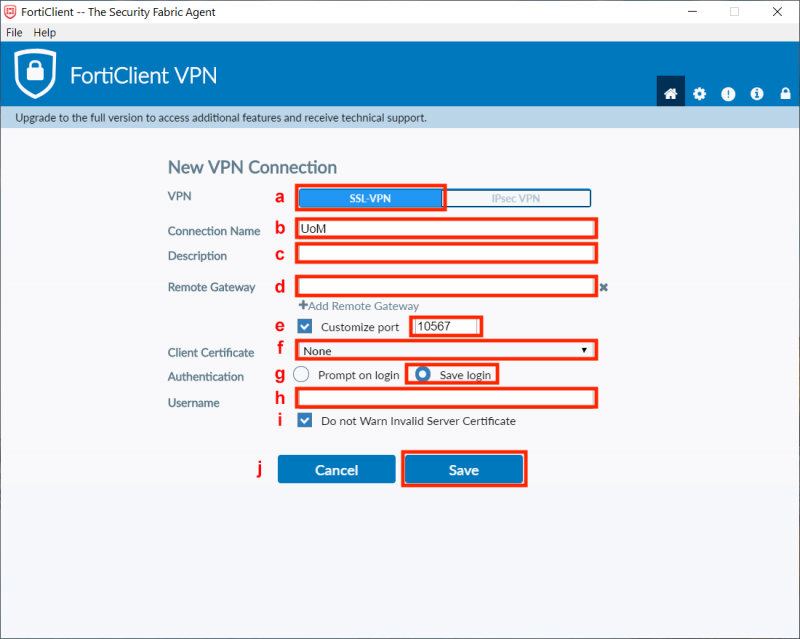 FortiClient VPN client settings - new VPN connection settings