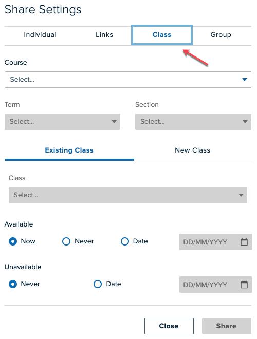 Share settings