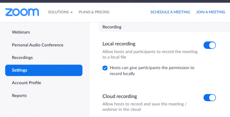 Zoom Setting screen in recording tab with 'cloud recordings' on