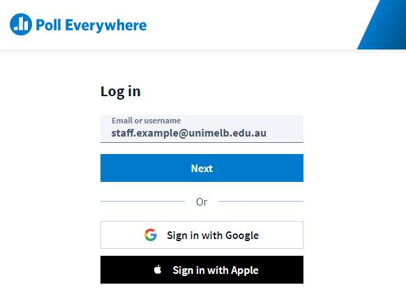 Poll Everywhere login page