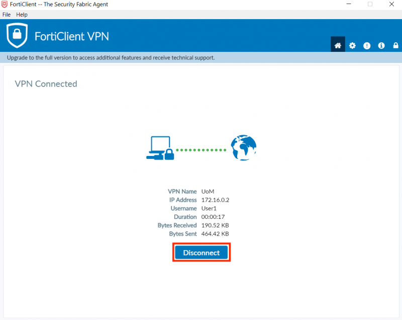 FortiClient VPN client settings - disconnecting