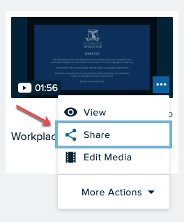 Select the Share option for the content in your Library