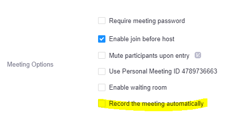 Meeting options with 'record the meeting automatically' highlighted