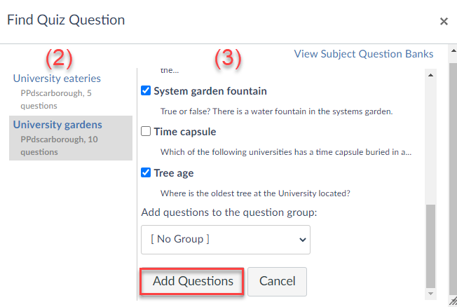 Choose the question bank on the left-hand side and the individual questions on the right
