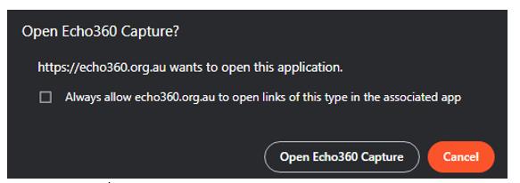 Opening Echo 360 Capture