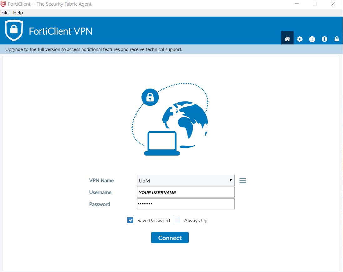 FortiClient VPN client settings - VPN login window