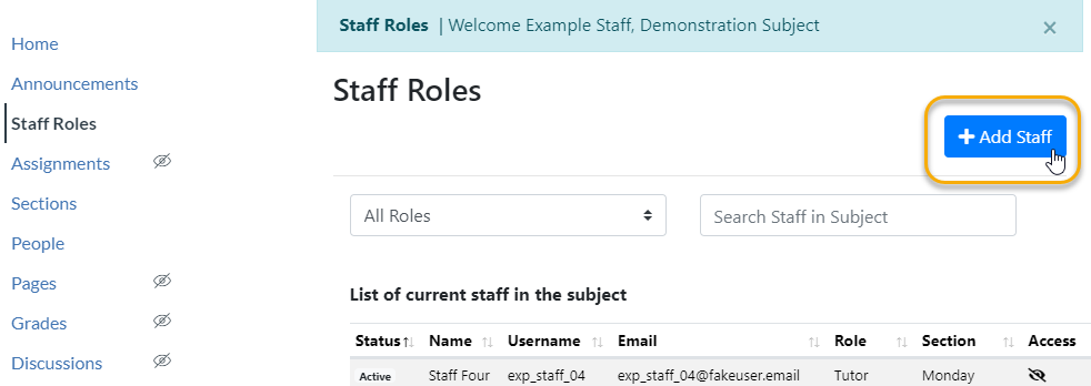 Add Staff button
