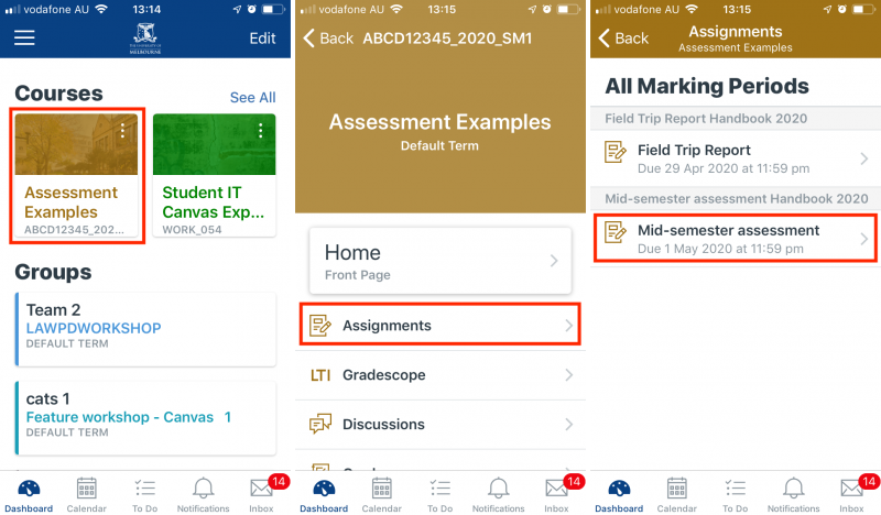 Navigate to Gradescope through the Canvas Student App