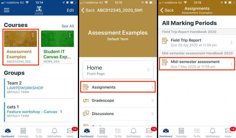 Navigate to Gradescope through the Canvas Student App