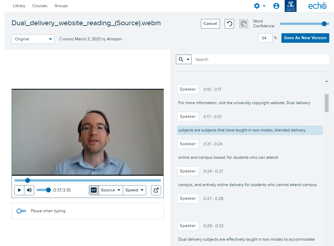The recorded video appears on the left and the transcript on the right in the Lecture Capture transcript editor. Click on a line in the transcript to edit.