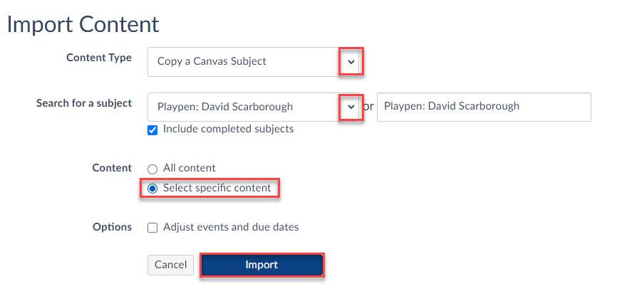 Set up information for content import