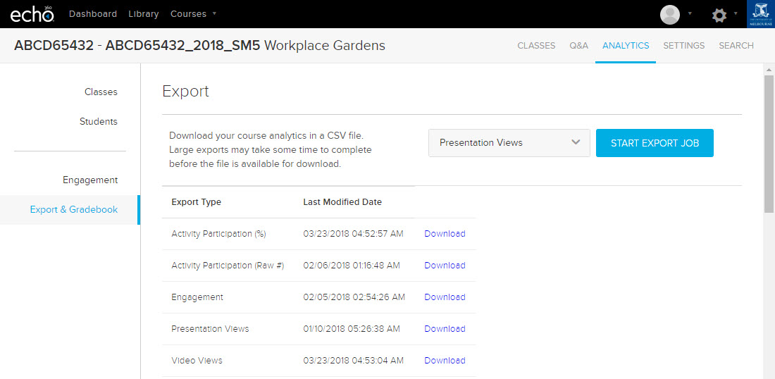 Export analytics to CSV reports