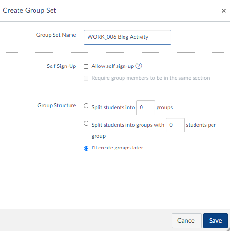 Setting for creating a Group Set