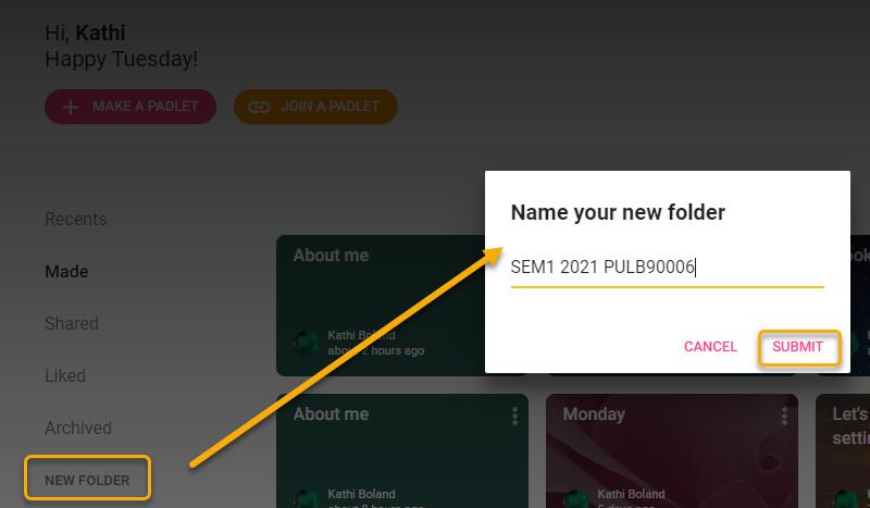 Create folders via the Dashboard